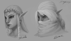 TLOZ: ZeldaSheik Sketches by Denimecho