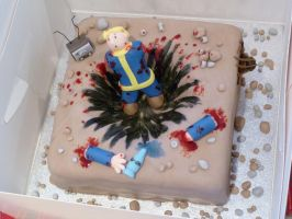 Fallout KABOOM Cake by Rebeckington