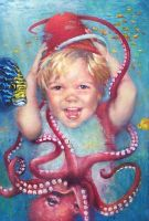 Octo-tickle    - oil painting by AstridBruning