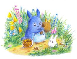 Two totoro and snail by jkBunny