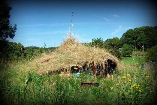 celtic roundhouse in the green garden with flowers by gangahimalaya
