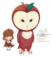 Barn Owl Tree Spirit and Acorn by kaijumama