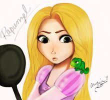 Rapunzel and Pascal by caligrl7072