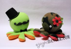 Lime green gentleman and camo octos by jaynedanger