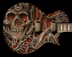 Biomech Bloodskull Guitar by tat2pooch