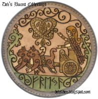 Freya and Chariot Round plaque by DebsDen