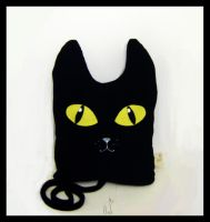 black cat plush pillow by AnirBrokenear