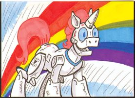 The Robocorn sketch card by PlummyPress
