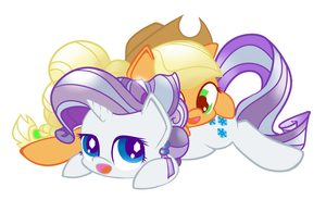Applejack and Rarity - Crystal cuddles by Portal-Pie
