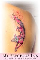 Watercolor Abstract Fox Tattoo by Mentjuh