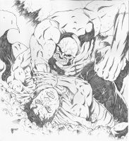 Superman vs. Darkseid Pencils by adammiconi