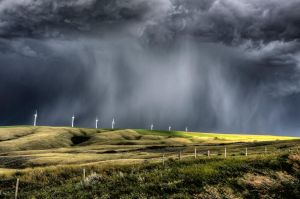 hail Storm and Wind Farm by pictureguy