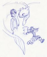 Hiccup, Toothless and Manic Astrid by kuabci