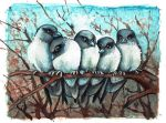 ACEO Dusty Woodswallows by kiriOkami