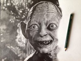'Gollum' (Lord Of The Rings) WIP 2014 - (Drawing) by Stevegillettart