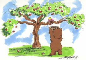Bear and Girl apple picking by atnason