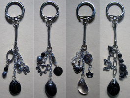 Silver Cluster Stone Keychains by BloodRed-Orchid