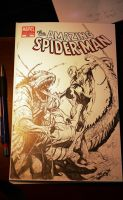 spiderman vs lizard commission by nefar007