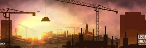 Leonard Saves the City Sunset Widescreen by Hoabert