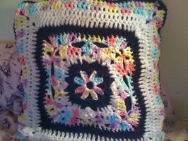 Granny Square Pillow (front) by lovechairmanmeow