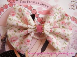 Pink Roses, Crystals, Velvet Hime Lolita Bow by MyEternalTeaparty