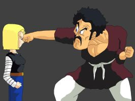 Hercule Vs. Android 18 by xyex