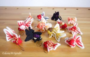 Cell Phone Strap of Felted Goldfishes by demetyoubi