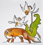 Fox and Lillies by Cahula