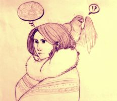 a girl and a bird by Wind08
