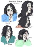 Severus Snape expressions by velapokemon