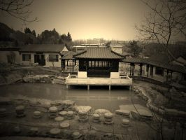 Sepia house on the lake by Laura-in-china