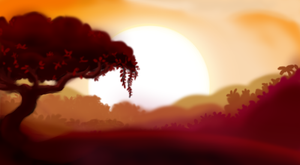 Jungle Sunrise Landscape Practice (MLP Inspired) by TurboSolid
