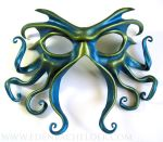 Cthulhu leather mask, turquoise and green-gold by shmeeden