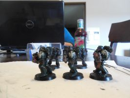 First Miniature Paintings ~ Dark Angels Side 1 by Leimary