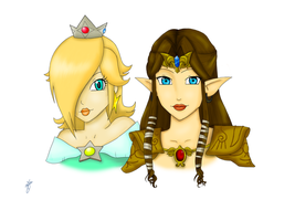 Rosalina and Zelda by Cloudyh