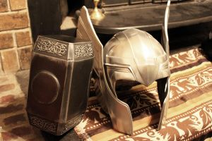 Thor helm and hammer Finished 5 by NMTcreations