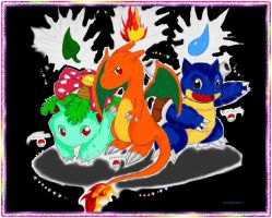 Chibi Kanto Starters by darknight0x0