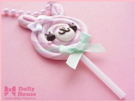 Lollipop Bunny Necklace by Dolly House by SweetDollyHouse