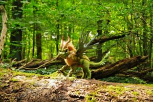 Poseable art doll, forest dragon by FellKunst