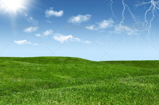 Green Lawn and Sky with Clouds, Sun and Lightening by nadaimages