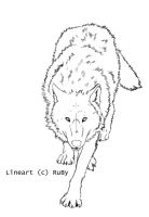 Wolf Lineart 1 by Pure-Ruby-Dragon