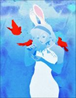 Blue Bunny Red Birds by doven
