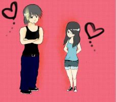 Anime drawing of me and my Boyfriend by gorlava