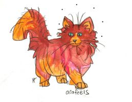 ombre copper and coral palette longhair cat by HiddenStash