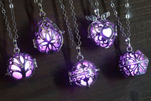 Glowing Magical Pendant Purple by CatherinetteRings