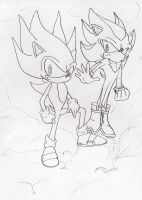 Super Sonic and Super Shadow by SimpleTheSaviour