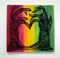 Two Abstract Trees Form Heart: Rasta by Eccentric-Indigo