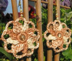 Variegated pinwheel crochet earrings by doilydeas