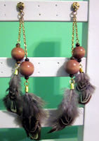Double Chain Feather Earrings by BloodRed-Orchid