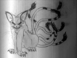 Nine-tailed demon cat by SarcasticRABBIT